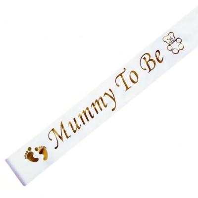 'Mummy To Be' Sash (White and Gold)